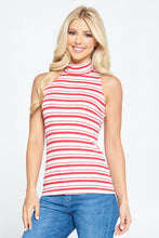 Red Sleeveless Striped Mock Neck Top