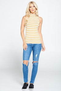 Mustard Sleeveless Striped Mock Neck Top