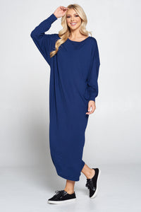 Solid Long Sleeve Maxi Dress with Cuffed Sleeve