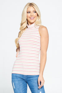 Taupe Sleeveless Striped Mock Neck Top