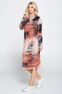 Tie Dye Cowl and Mock Neck Midi Dress