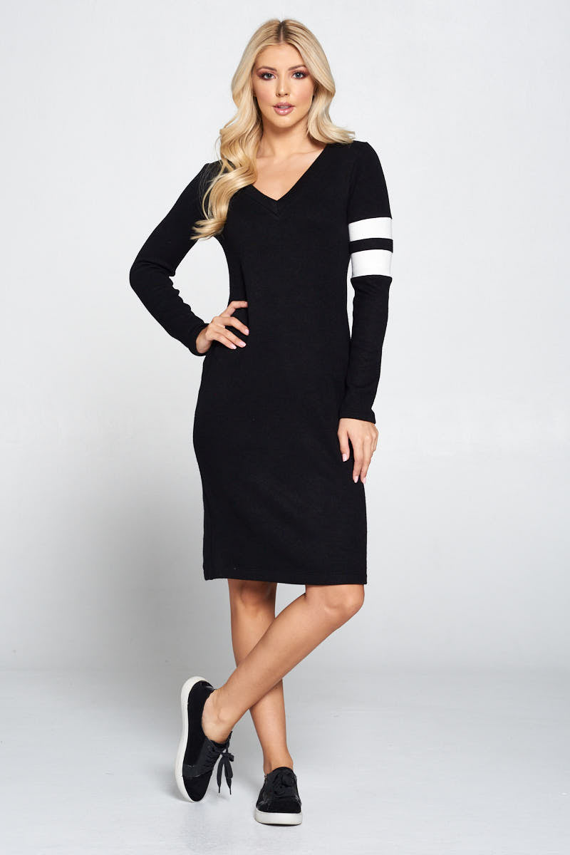 Bodycon Knit Dress with Stripes Detail