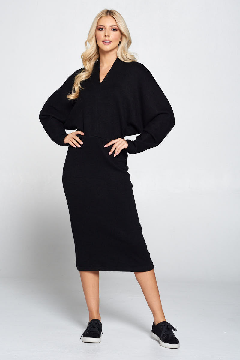 Sweater Knit Dolman Sleeve Midi Dress