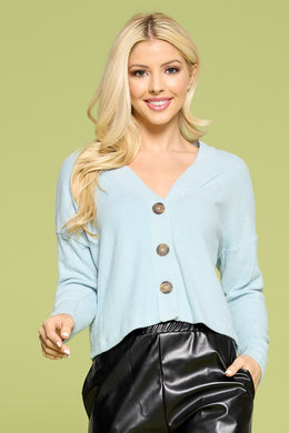 Blue Ribbed Knit Flowy Top with Buttons