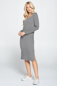 Striped Relaxed Bodycon Midi Dress with Slit