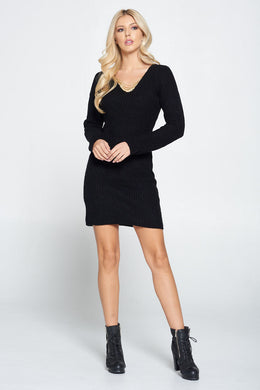Black Knit Bodycon Sweater Dress with Chain Detail