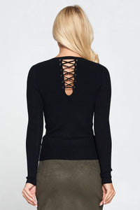 Black Ribbed Knit Top with Lace Up Detail