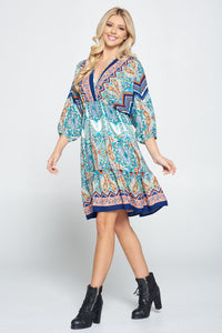 Multi Color Print Style Dress with Ruffle Hem