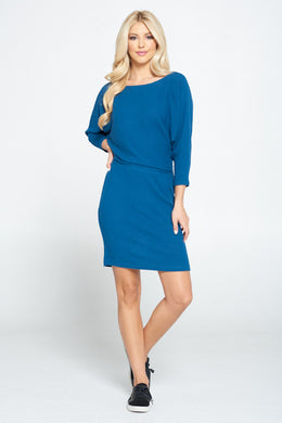 Dolman Sleeve Blouson Knit Bodycon Dress