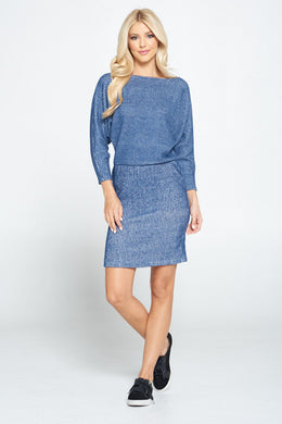 Navy Dolman Sleeve Blouson Knit Bodycon Dress