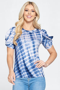 Tie Dye Short Puff Sleeve Top with Knot Detail