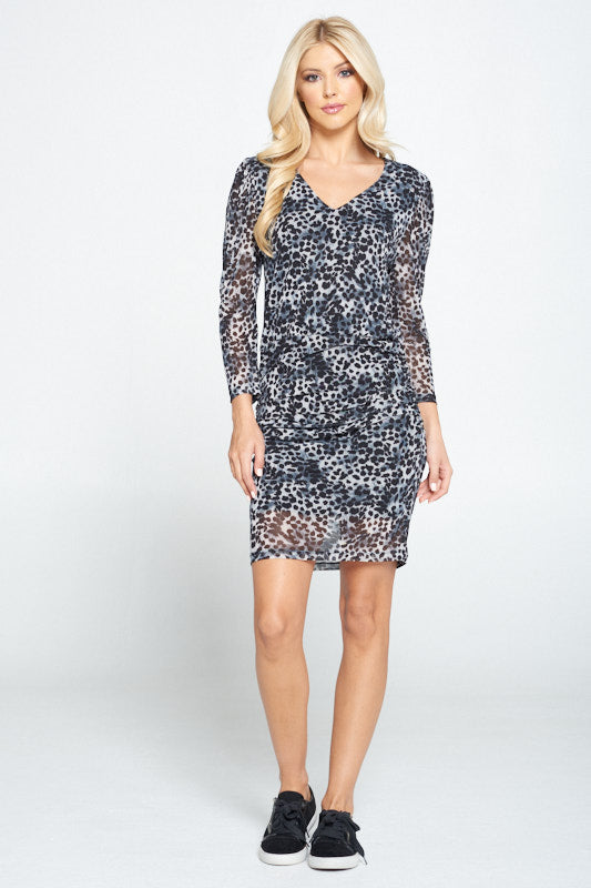 Leopard Print V-neck Ruched Detail Bodycon