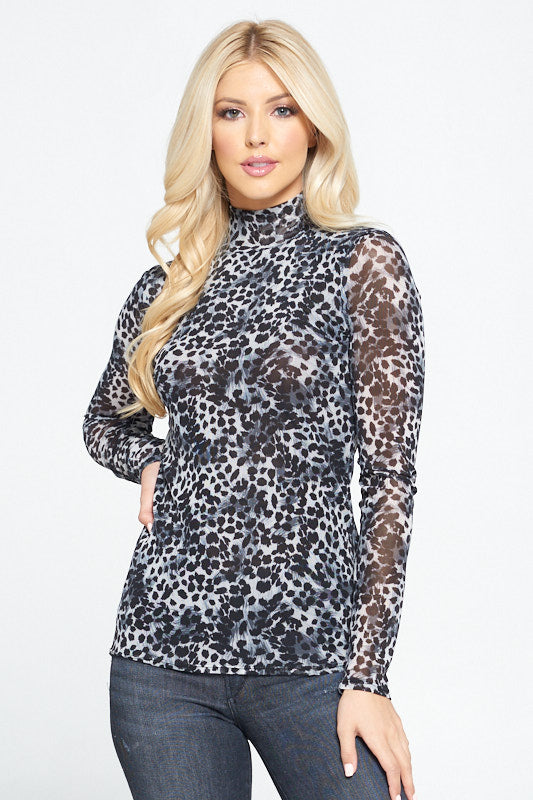 Leopard Print Mock Neck Mesh Top with Lining
