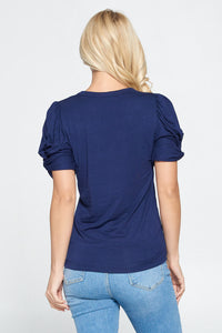 Solid Short Sleeve Top with Scrunched Sleeves
