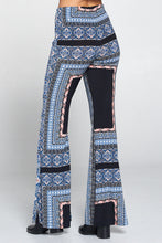 Blue Boho Print Flared Pants