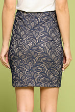 Navy Lace Pencil Skirt with Lining