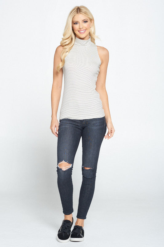 Striped Mock Neck Rib Knit Top