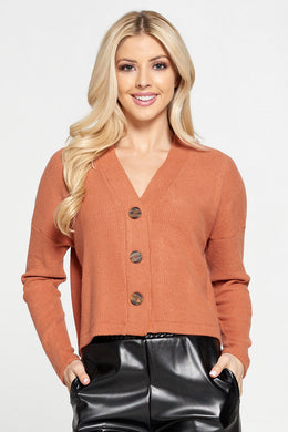 Rust Ribbed Knit Flowy Top with Buttons