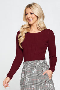 Burgundy Ribbed Knit Top with Lace Up Detail