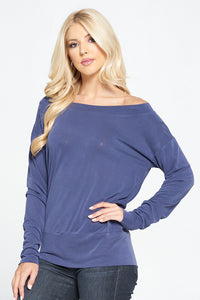 Modal Knit Solid Top with Dolman Sleeve