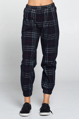 Plaid Pants with Pockets and Elastic Waist