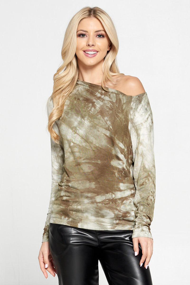 Olive Tie Dye Print Off the Shoulder Top