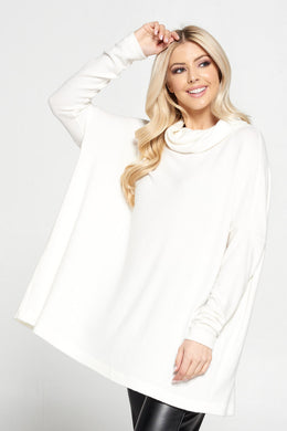 Ivory Long Sleeve Open Back Pullover Top