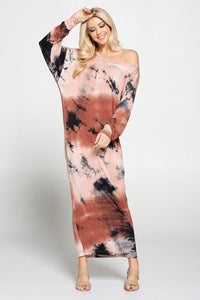 Tie Dye Long Sleeve Maxi Dress with Cuffed Sleeve