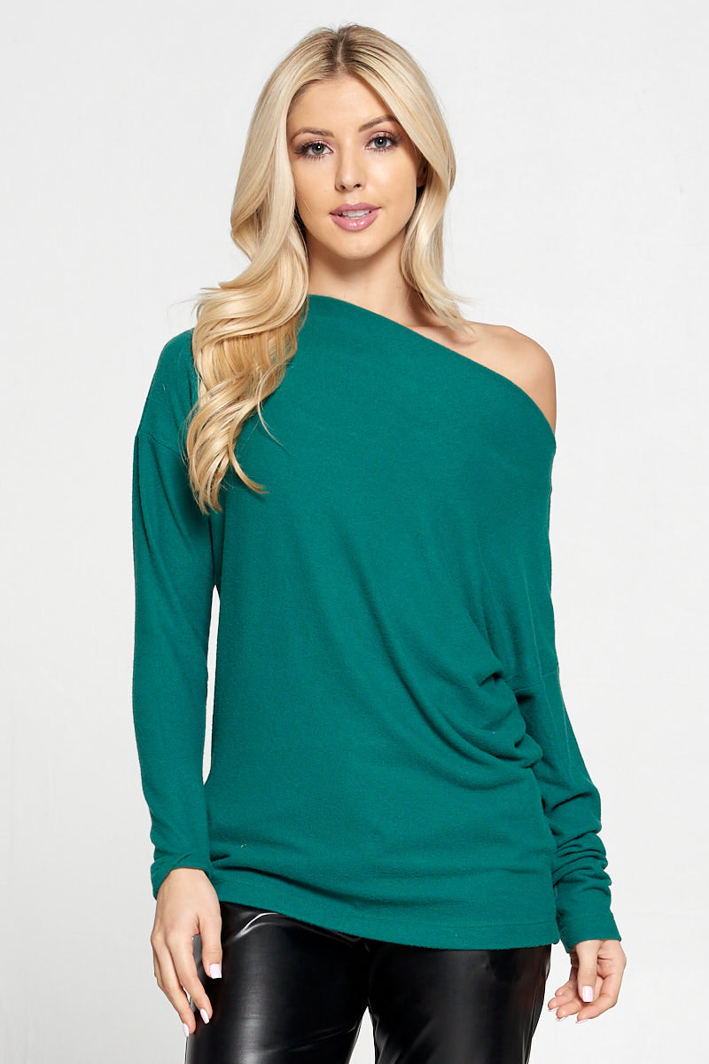 Green Knit Off the Shoulder Top