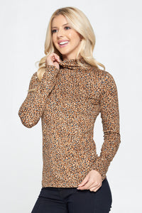 Taupe Long Sleeve Mock Neck Top