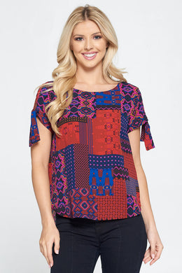 Patch Print Short Sleeve Top with Sleeve Tie