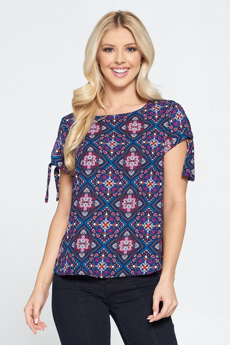 Tile Print Short Sleeve Top with Sleeve Tie