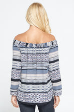 Boho Border Print Off the Shoulder Tunic Top