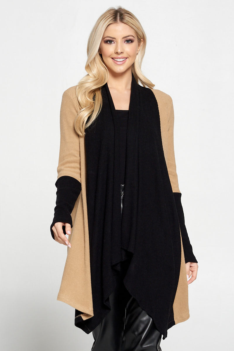 Open Front Draped Cardigan with Color Block Sleeve Detail