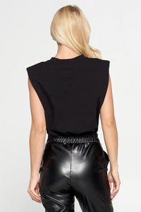 Black Solid Shoulder Pad Top