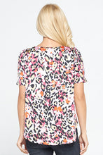 Multi color Animal Print Top with Puff Short Sleeves