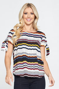 Geometric Print Short Sleeve Top with Sleeve Tie