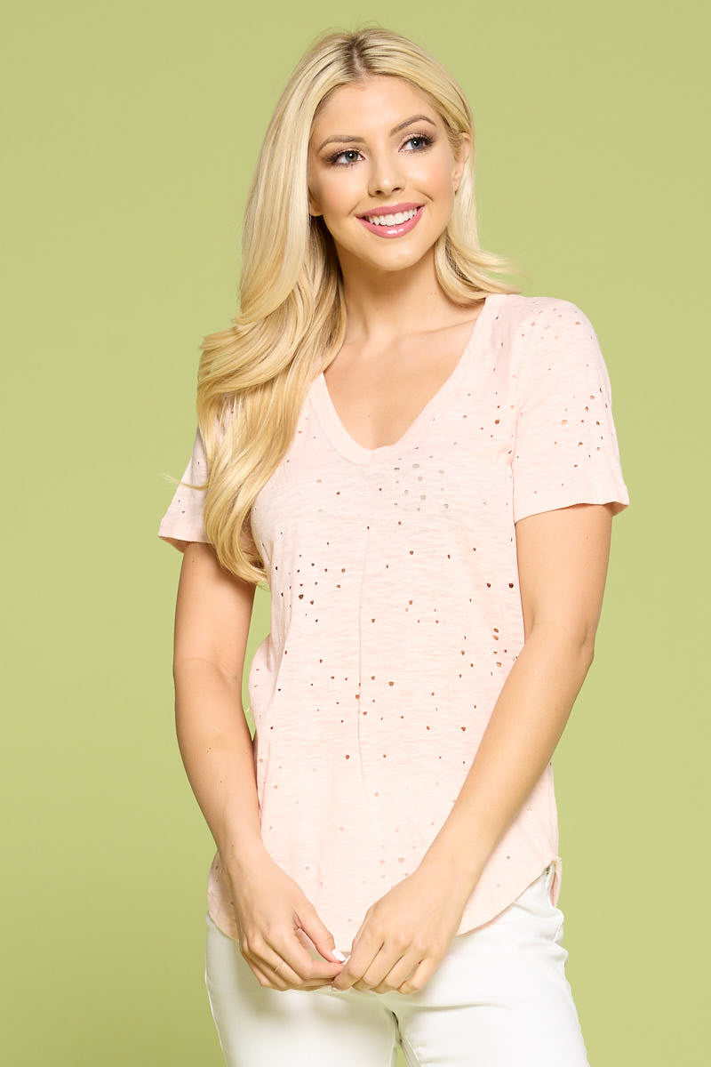 Cotton Slub Short Sleeve V Neck  T-shirt with Holes