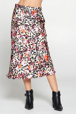 Satin Animal Print Stretch Midi Pull On Skirt
