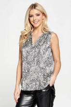 Stretch Satin Animal Print V Neck Top