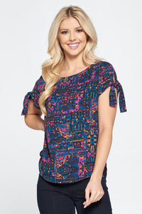Abstract Print Short Sleeve Top with Sleeve Tie