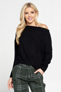 Black Knit Off the Shoulder Top