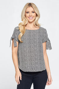 Black & White Short Sleeve Top with Sleeve Tie