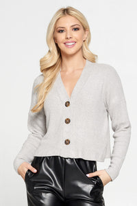 Gray Ribbed Knit Flowy Top with Buttons