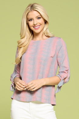 Round Neck Blouse With Tie Detailed Sleeve
