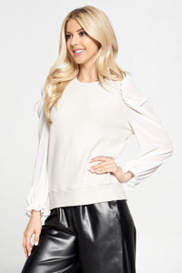Solid Sheer Puff Sleeve Top with Ruffle Cuff