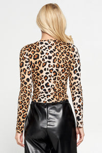 Leopard Print Long Sleeve Scrunched Top