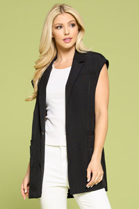 Solid Draped Open Front Vest