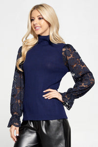 Mock Neck Rib Brushed Knit Top with Lace Sleeve