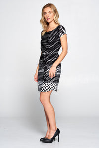 Polka Dot Knit Dress with Waist Tie